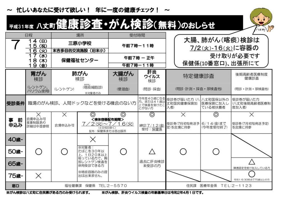健康診査・がん検診(無料)のお知らせ